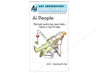 Art Impressions Rubber Stamp Ai People Catching Z&#39;s Set