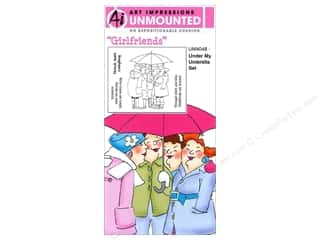 Art Impressions Rubber Stamp Girlfriends Umbrella Set