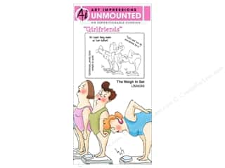 Art Impressions Rubber Stamp Girlfriends The Weigh In Set