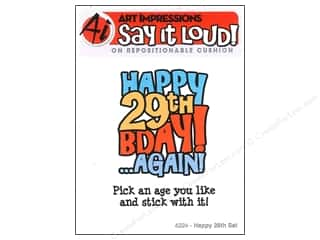 Art Impressions Rubber Stamp Say It Loud! Happy 29th Set