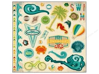 "theme stickers  summer: Bo Bunny Sticker Chipboard 12""x 12"" Key Lime"