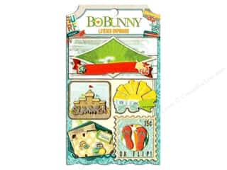 Blank Card & Envelopes: Bo Bunny Chipboard Stickers Layered Key Lime