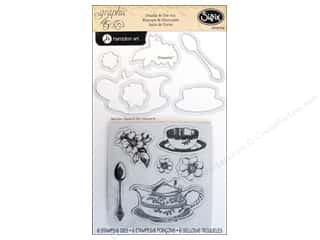 Rubber Stamping Brown: Sizzix Framelits Die Set 6 PK with Stamps Tea Time by Graphic 45