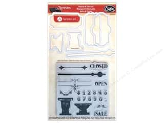 Dies ABC & 123: Sizzix Framelits Die Set 6 PK w/Stamps Sign of the Times by 7 Gypsies