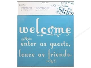 "Yarn Captions: Multicraft Craft Decor Stencil Wall 12""x 12"" Welcome Friends"