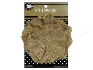 Canvas Home Basics Embellishment Flowers / Blossoms / Leaves: Canvas Corp Burlap Flower 4 in. Natural