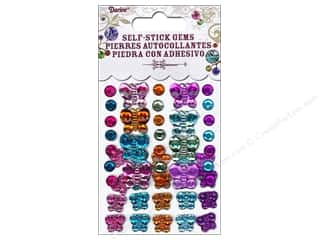 Self-Adhesive Rhinestones Round and Butterfly Vibrant 49pc