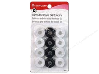 Singer: Singer Threaded Bobbins Class 66 Black/White 12 pc.