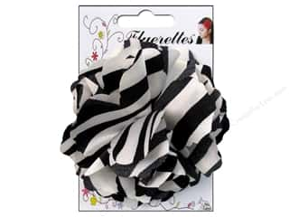 Mark Richards Fabric Flowers: Mark Richards Fluerettes Flower Satin Zebra Black/White