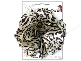 Mark Richards: Mark Richards Fluerettes Flower Satin Leopard Black/Beige