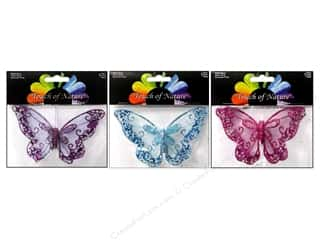 "Clearance Floral & Garden Accents Butterflies: Midwest Design Butterfly 4.75"" Glitter Mesh Assorted (3 pieces)"