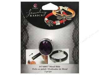 Cousin Charm Slide Metal/Acrylic Oval Silver/Purple