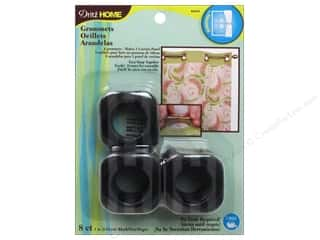 plastic curtain grommets: Dritz Curtain Grommets 1 in. Square Black Stripe 8pc