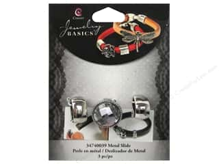 Charms Clear: Cousin Charm Slide Metal/Acrylic Round Silver/Clear 3pc