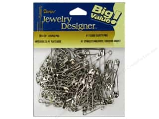jewelry safety pin: Darice JD Safety Pins #1 Silver Plate Steel 144pc