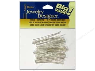"darice jewelry: Darice Jewelry Designer Head Pins 2"" Bright Silver 90pc"