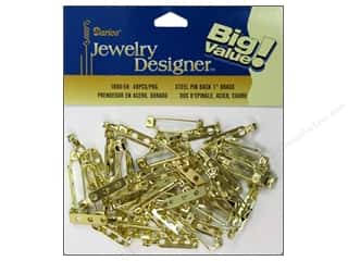 "Darice JD Pin Back 1"" Brass Plateed Steel 48pc"