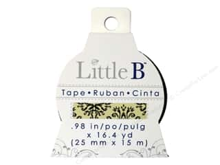 Glue and Adhesives Brown: Little B Decorative Paper Tape 1 in. Brown and Black Damask