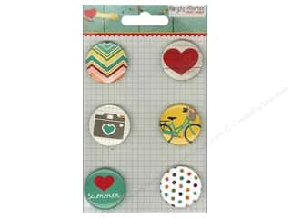Buttons Vacations: Simple Stories Embellishments Flair Badge I Heart Summer