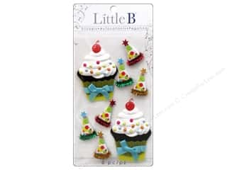 Felt paper dimensions: Little B Sticker Medium Birthday Cupcakes