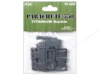 Pepperell Braiding Co. Black: Pepperell Parachute Cord Buckle 5/8 in. Titanium 4 pc.