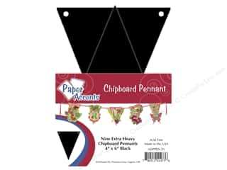 Paper Accents $4 - $6: Paper Accents Chipboard Pennants 4 x 6 in. 9 pc. Black