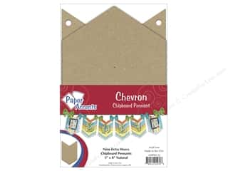 Chipboard Pennants 5 x 8 in. Chevron 9 pc. Kraft