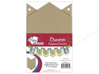 Chipboard Pennants 4 x 6 in. Chevron 9 pc Kraft