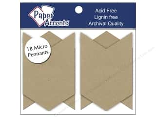 Chipboard Pennants  1 1/4 x 2 in Micro Chevron 18pc Kraft