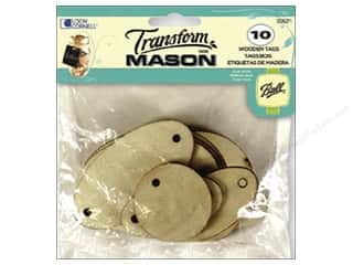Tags Craft & Hobbies: Loew Cornell Transform Mason Wooden Tags 10 pc. Ovals