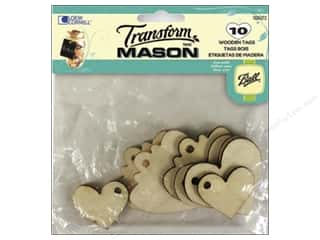 Weekly Specials Gallery Glass: Transform Mason Wooden Tags 10 pc. Hearts