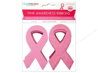 Weekly Specials Paper Accents: Multicraft Foam Pink Awareness Ribbon 3 in. 24 pc.