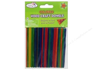 Kid Crafts $4 - $6: Craft Medley Wood Dowel 4 x 1/8 in. Colored 100 pc.