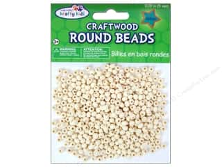 Craft Medley Wood Bead Round 3/16 in. Natural 450 pc.