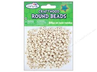 Craft Medley Wood Bead Round 1/4 in. Natural 350 pc.