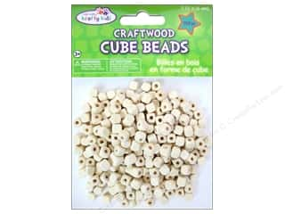Craft Medley Wood Bead Cube 1/4 in. Natural 250 pc.