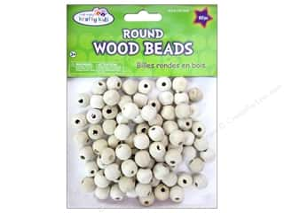 Craft Medley Wood Bead Round 1/2 in. Natural 80 pc.