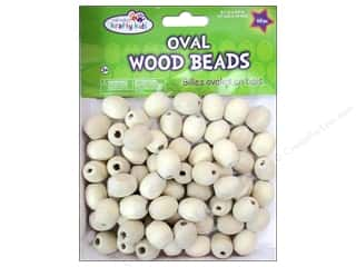 Craft Medley Wood Bead Oval 11/16 x 9/16 in. Natural 60 pc.