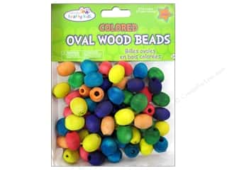 Kid Crafts Beads: Craft Medley Wood Bead Oval 11/16 x 9/16 in. Colored 60 pc.