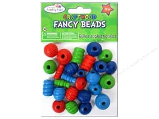 Children Wood: Craft Medley Wood Bead Fancy Assorted Colored 28 pc.