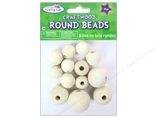 Craft Medley Wood Bead Round 3/4 - 1 3/16 in. Natural 13 pc.