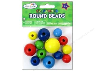 Children Wood: Craft Medley Wood Bead Round 3/4 - 1 3/16 in. Colored 13 pc.