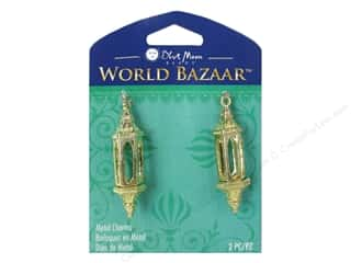 Licensed Products Blue Moon World Bazaar: Blue Moon Beads Metal Charms World Bazaar Rectangle Frame 2pc Gold