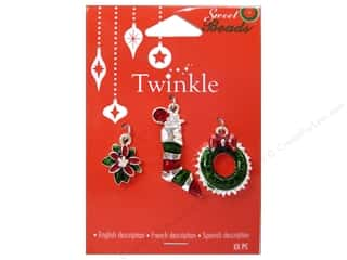 Charms $3 - $4: Sweet Beads Twinkle Charm Metal Silver Assorted 4 3 pc.