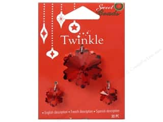 Earrings 1 1/8 in: Sweet Beads Twinkle Pendant Glass Snowflake Red 3 pc.