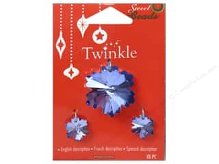 Gifts $0 - $2: Sweet Beads Twinkle Pendant Glass Snowflake Blue 3 pc.