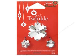 Earrings 1 1/8 in: Sweet Beads Twinkle Pendant Glass Snowflake Silver 3 pc.