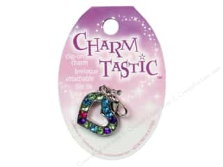 Charms and Pendants Clearance Crafts: Janlynn Charmtastic Clip-On Charm Sparkly Heart (3 pieces)