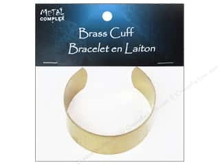 Bracelets inches: Metal Complex Bracelet Cuff Flat Band 1 in. Brass