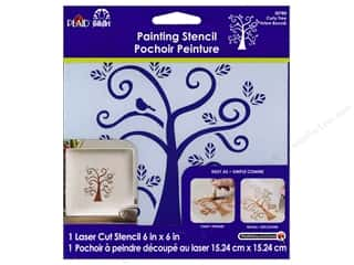 Stenciling Paints: Plaid Stencil FolkArt Painting Curly Tree